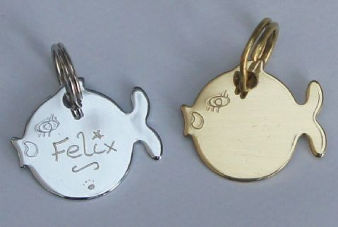 Id tag hand engraved cute fish shape tag in gold or silver